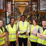 Warehouse staff group portrait